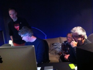 The Memory Keys mastering session at Edensound - Dallas Cosmas, Martin Pullan (master engineer), Wayne Rintoul, Simon Segal