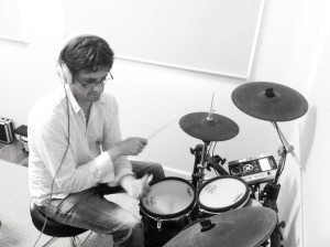 Paul Richards, laying down a heavy groove on the track 'Why Don't You' for The Memory Keys rhythm sessions